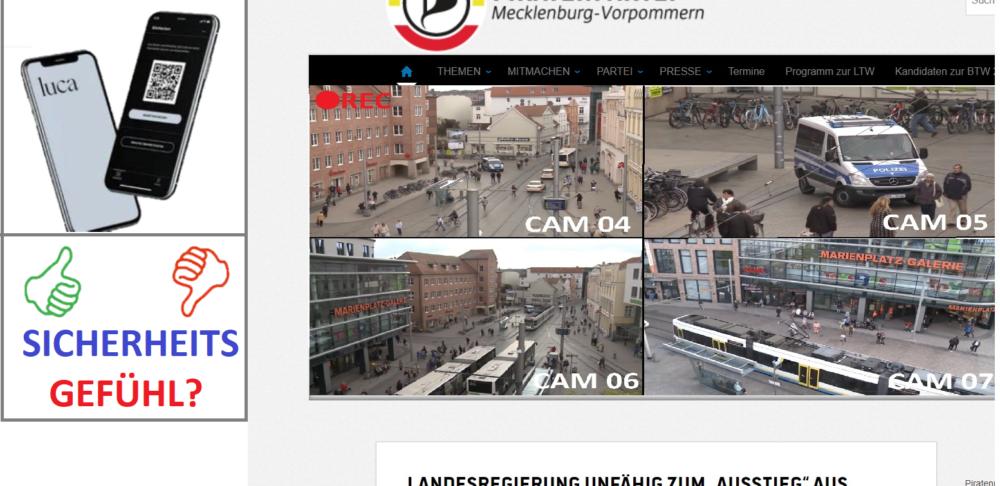 LUCA APP und Videoüberwachung. Um das Sicherheitsgefühl effektiv abzubilden fordert die Piratenpartei ein Kopplung beider Themenkomplexe.